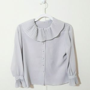 Vintage light gray chiffon sheer button up blouse